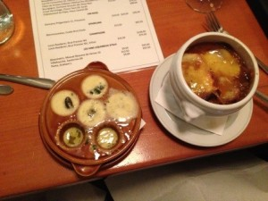 Escargots & French Onion soup at La cantine