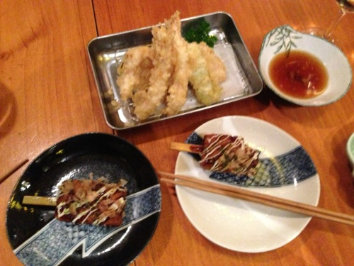 Okonomiyaki & tempura prawns